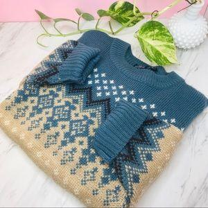 vtg vsco fair isle chunky oversized knit sweater